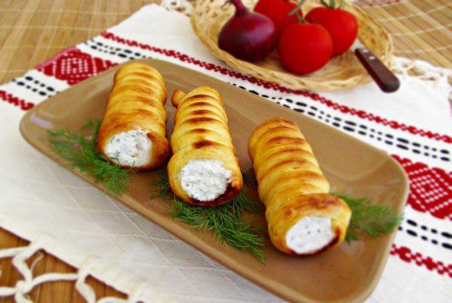 Retete Culinare - Rulouri aperitiv, cu crema de branza