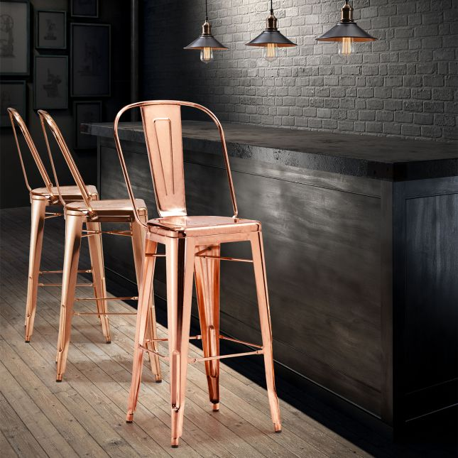 Trendy rose gold bar chairs will glam up your kitchen.