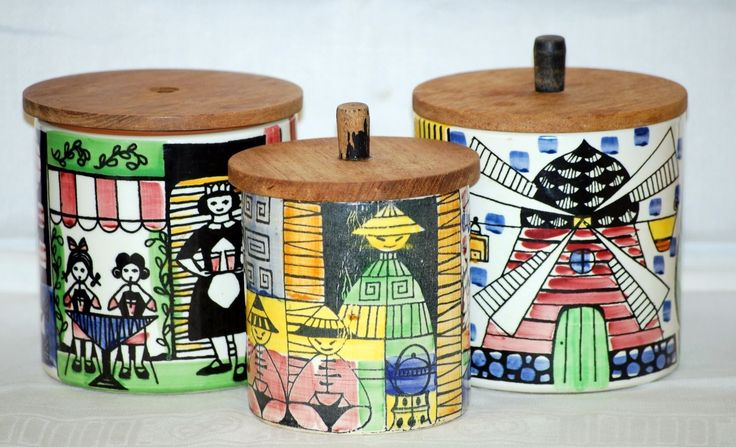 Vintage Jie Gantofta Storage Jars, Anita Nylund Design, Swedish, set of three in Pottery, Porcelain & Glass, Pottery, Art Pottery | eBay