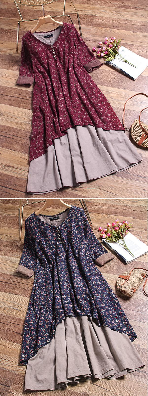 [Newchic Online Shopping] 48%OFF Gracila Vintage Double Layered Dresses with Long Sleeve and Floral Print