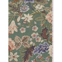 Green Floral Drapery Canvas