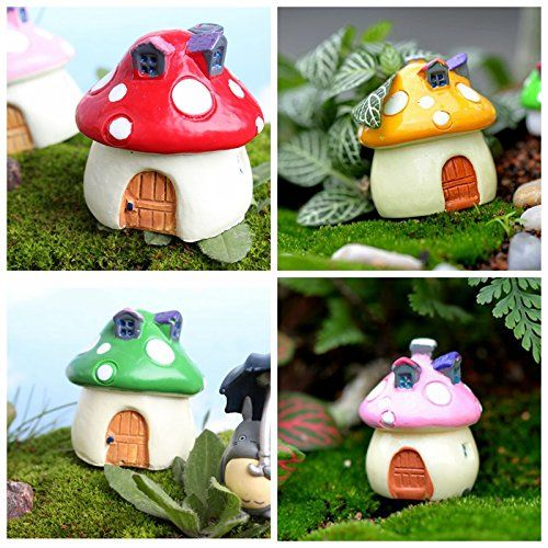 SUPLA 4 Color&Size In Set Miniature Fairy Garden Mushroom House for Miniature Fairy Garden Patio Decoration Terrarium Doll House Figurine Statue Home Decor Ornament Outdoor Decor