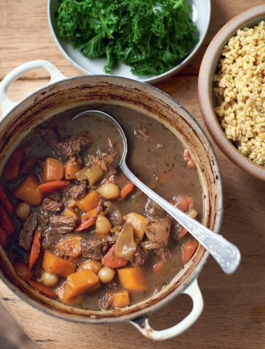 Jamie Oliver's beef and Guinness stew with English mustard and pearl barley from Super Food Family Classics is warm, comforting and packed full of flavour. The benefit of skirt steak is that it's leaner than many other cuts of beef, plus it's high in themineral zinc, which we need to keep our hair, skin and nails nice and healthy – triple win!