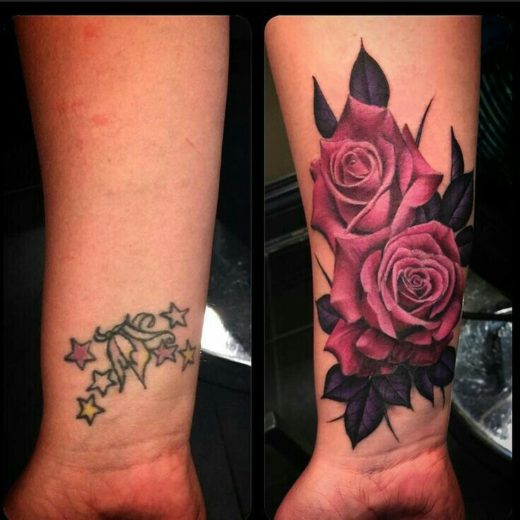 Lovely coverup #roses #girly #coverup #ink #colorfulltattoos