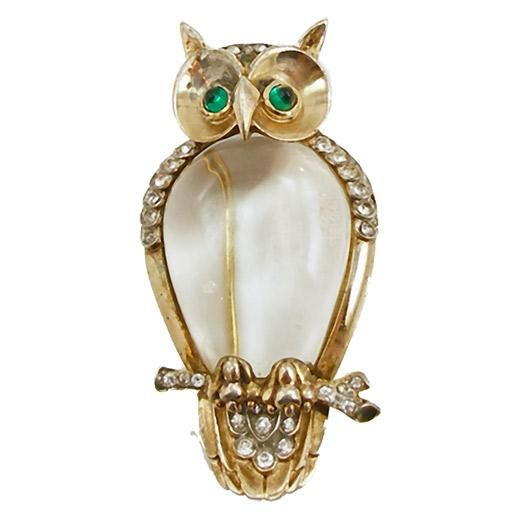 Vintage Signed Trifari Sterling Jelly Belly Owl Fur Clip