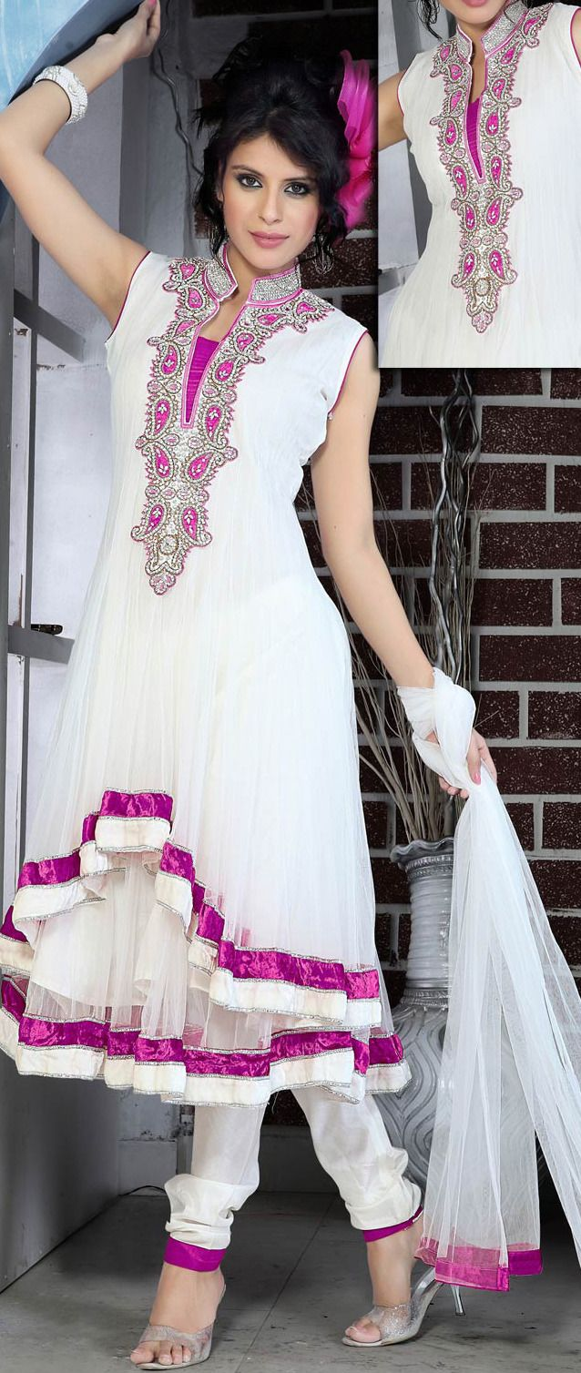 #White #Anarkali Churidar Kameez