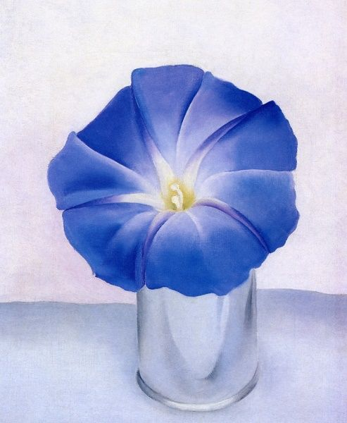 A morning glory at my window satisfies me more than the metaphysics of books-   Walt Whitman.         Georgia O'Keeffe, Blue Morning Glory