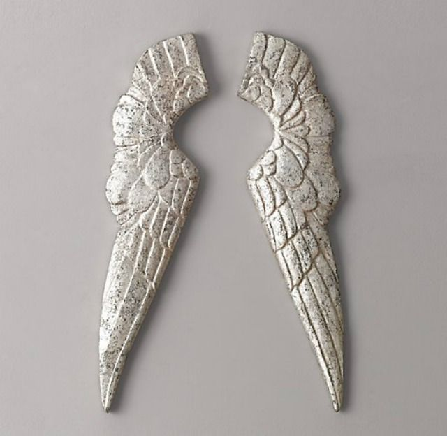 We adore these pewter angel wings from Restoration Hardware! #nurserydecor
