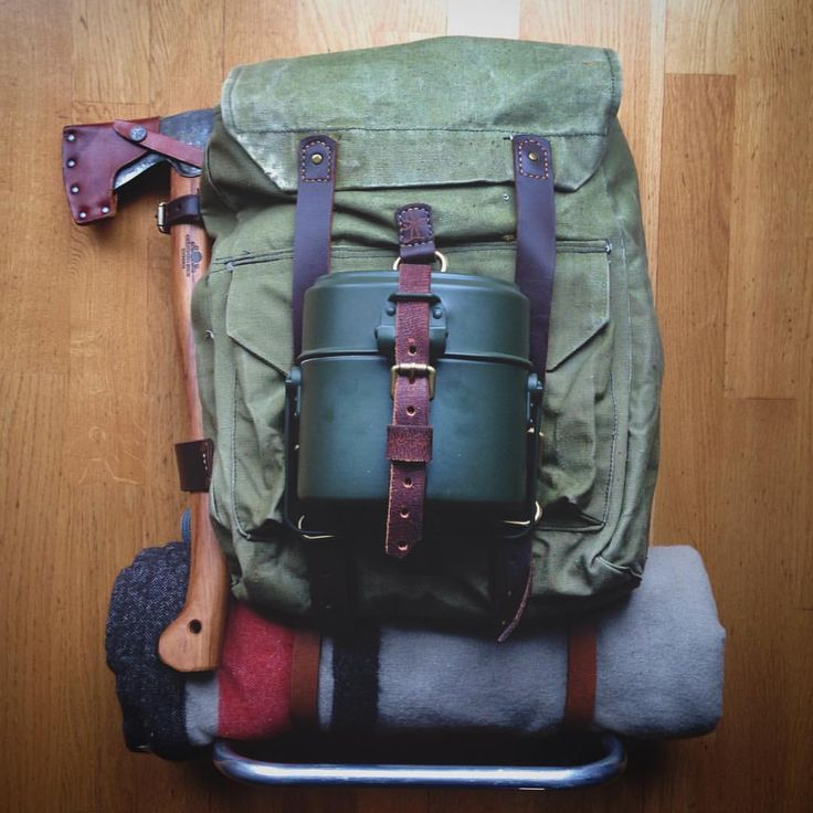 My new external frame canvas leather backpack is ready to go… #bushcraft…