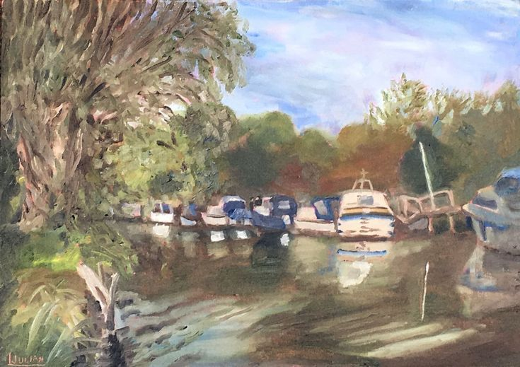 Buy Grove Ferry Moorings - An original painting of this delightful place!, Oil painting by Julian Lovegrove Art on Artfinder. Discover thousands of other original paintings, prints, sculptures and photography from independent artists.