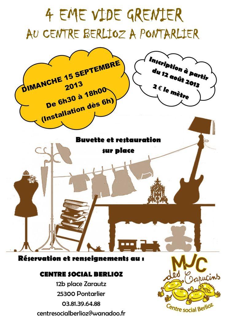 4ème vide-grenier. Le dimanche 15 septembre 2013 à Pontarlier.