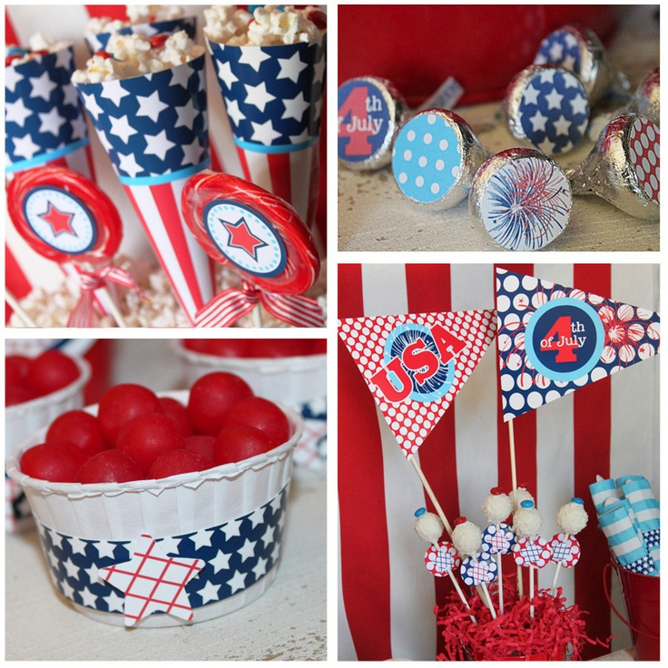 JULY 4th Party - 4th of July Printable Set - Stars and Stripes - On Sale - Full Collection with Invitation by Amanda's Parties To Go. $9.00, via Etsy.