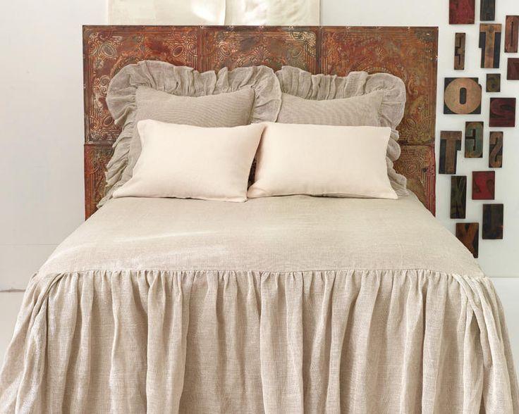 Linen Mesh Om Bedding Would Interpret Into Drop Cloth Diy Headboard Tiles Bed Spreads