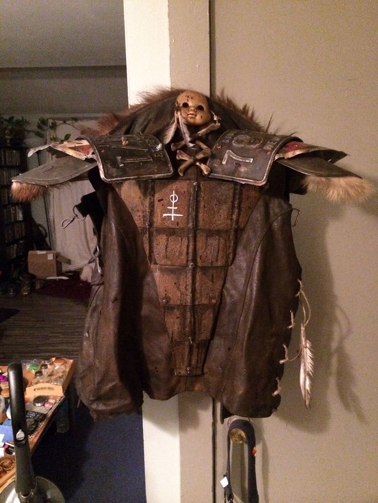 Handmade scavenger jacket with hand forged back plate and shoulder pads