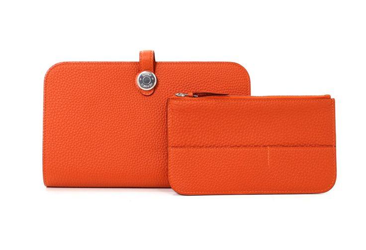 hermes printed canvas bag - Herm��s Orange Togo Dogon Duo Wallet PHW | Hermes, Wallets and Orange