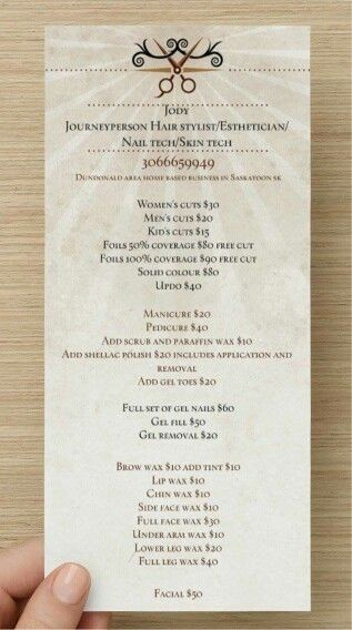 Price list at Jody hairdresser and esthetician