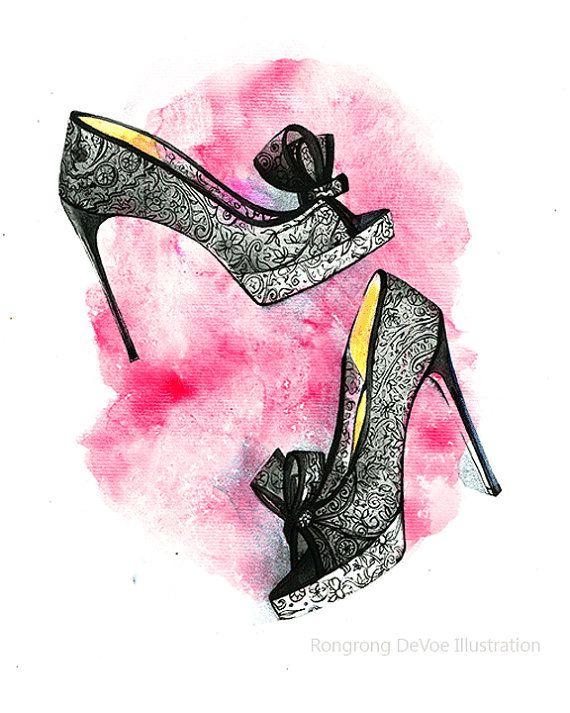Christian Louboutin lace shoe art  fashion by RongrongIllustration, $10.00 #ChristianLouboutin #fashionillustration #etsy #shoeart #watercolorfashion