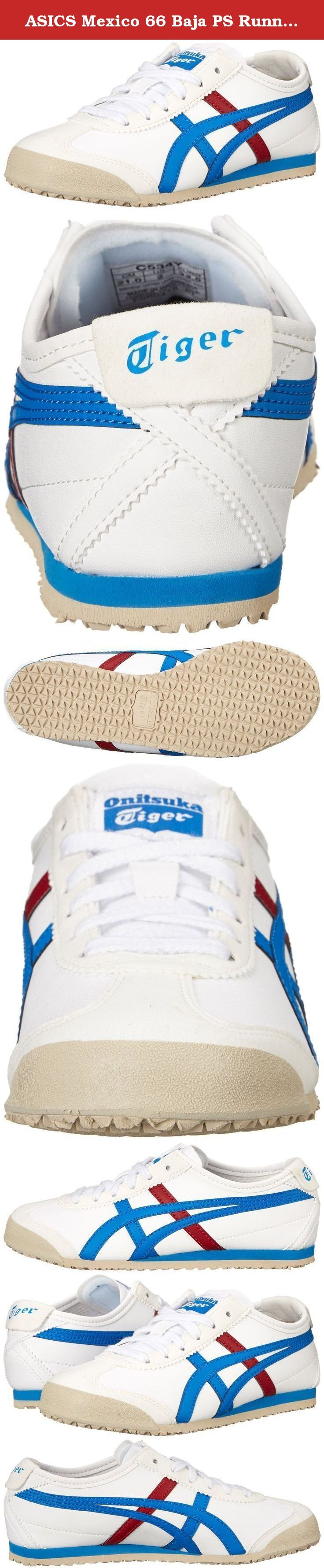 ASICS Mexico 66 Baja PS Running Shoe (Toddler/Little Kid), White/Mid Blue, 13 M US Little Kid. The iconic Mexico 66 was born in 1966 and debuted at the 1968 Olympic games pre-trials in Mexico with a premium white leather, stitched with red and blue tiger stripes. Today, the classic runner has been reawakened and remains to be the most popular shoe in the Onitsuka Tiger collection. The materials include a unique herringbone textile pattern on the upper and while the tiger stripes are…