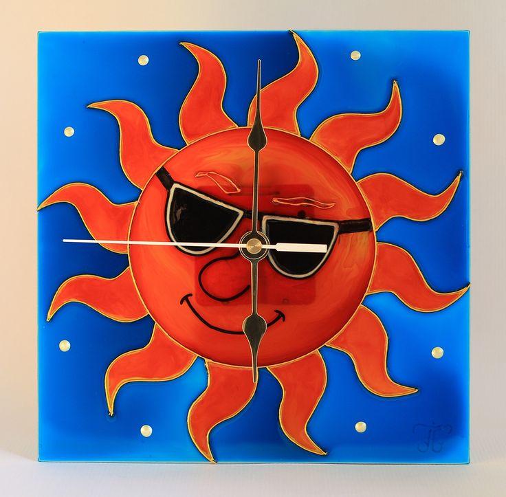 Sonne - Sun - Vidám napocska - Handmade - Handbemalte - kézzel festett üvegóra - 20x20