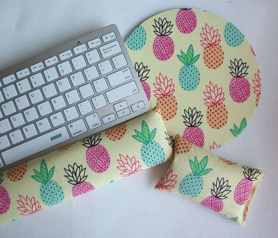 Pineapples Keyboard rest and / or WRIST REST  MousePad set   mouse pad set coworker gift - office Desk Accessories