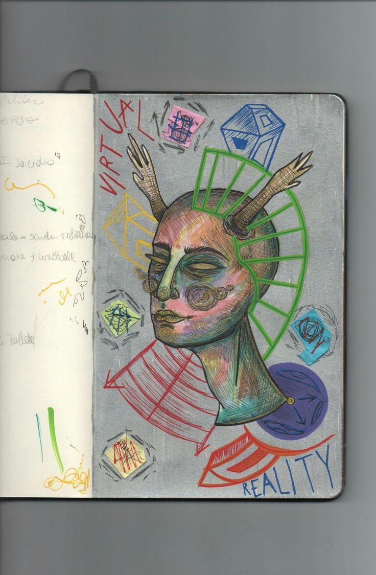 """Virtual reality"" illustration by @distrofiamuscolare    #art #illustrazione #draw #drawing #alien #space #watercolor #moleskine #portrait #painting #illustrator #myart #disfrofiamuscolare"
