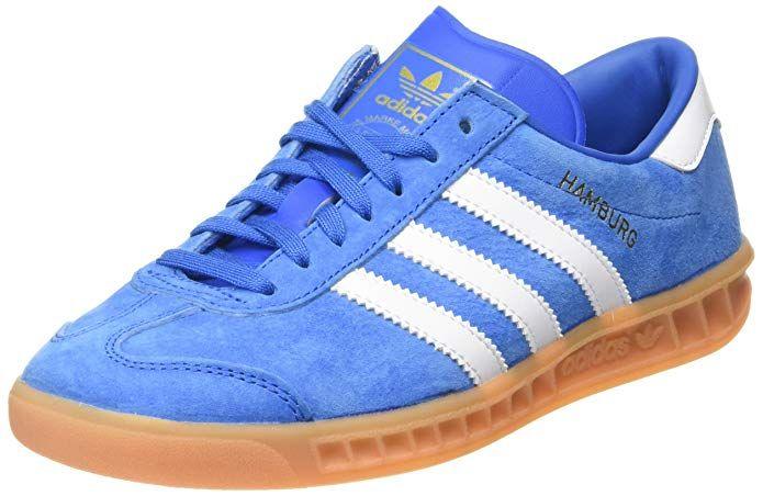 Adidas Hamburg Herren Damen Unisex Schuhe Blau Bluebird Mit Weissen Streifen Blaue Schuhe Sneaker Herren Sneaker