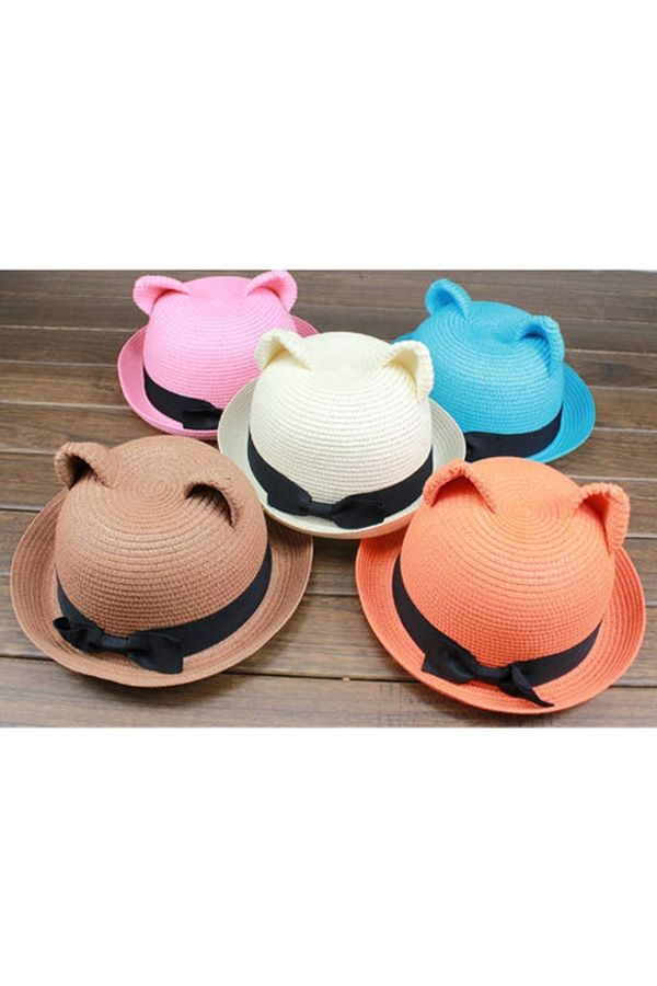 Cute Cat Ear Straw Bowler - OASAP.com Not sure if I would wear it, but cute nonetheless!!