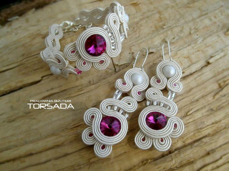 Biżuteria ślubna komplet ślubny z sutaszu w kolorze ecru beżowego z kryształami Swarovskiego  - TORSADA www.torsada.otwarte24.pl