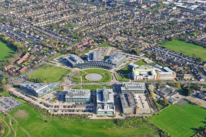 An aerial photograph of a commercial business park in Ashford, Heathrow (London)