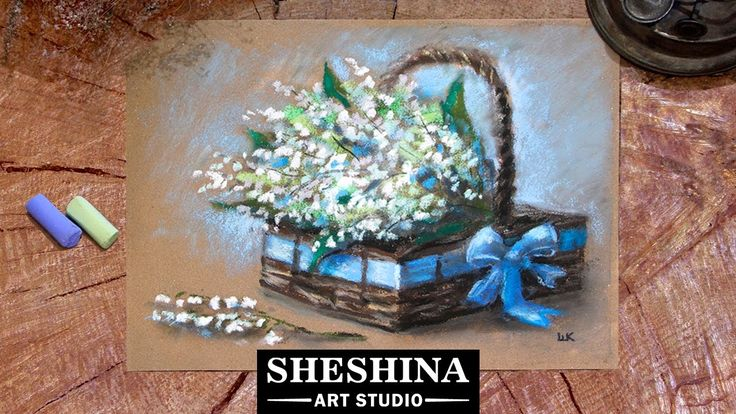 How to draw lilies of the valley in a basket with soft pastels 🎨 Sheshina Ekaterina