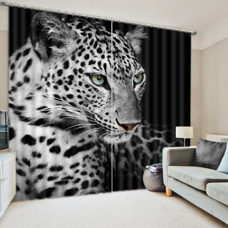 Modern Chinese Luxury 3D Blackout Tiger Curtains For Bedding room Living room Drapes Hotel Cortinas De Sala