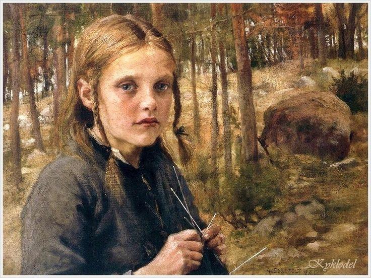 Albert Gustav Aristides Edelfelt (Swedish, 1854–1905) «A Girl Knitting Socks»