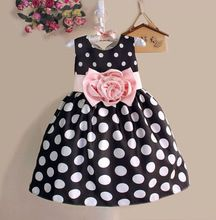 Hot Sale Christmas Super Flower girls dresses for party and wedding Dot print Princess Kids Dress Fashion Children's Clothing(China (Mainland))