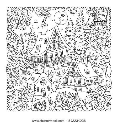 Fairy Tale Old Medieval Town House Fir Trees T Shirt Print Coloring Book Page For Adults And Children Christmas New Year Greeting Card Royalty Free