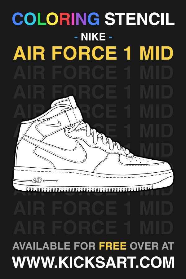 Nike Air Force 1 Mid Sneaker Coloring Page In 2020 Sneakers Air Force 1 Mid Nike Air Force
