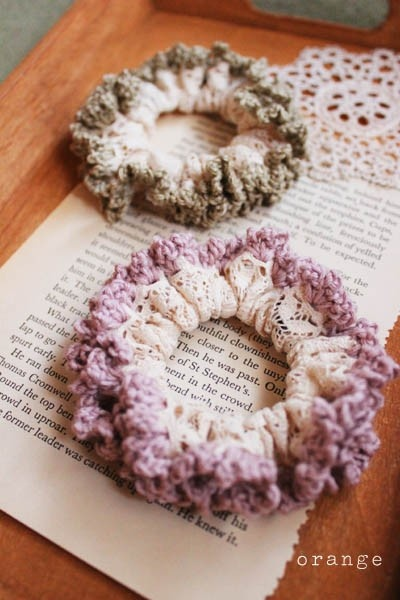 crochet and lace scrunchie...i use to make similar scrunchies as a child with my grandmother :)
