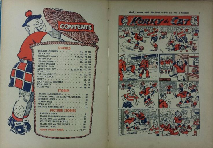 Dandy Book 1953 - Contents page and first comic (numbered as page 5)