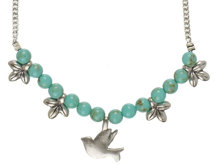 TREE OF LIFE NECKLACE 42cm length featuring turquoise stones & silver charms www.visora.com.au
