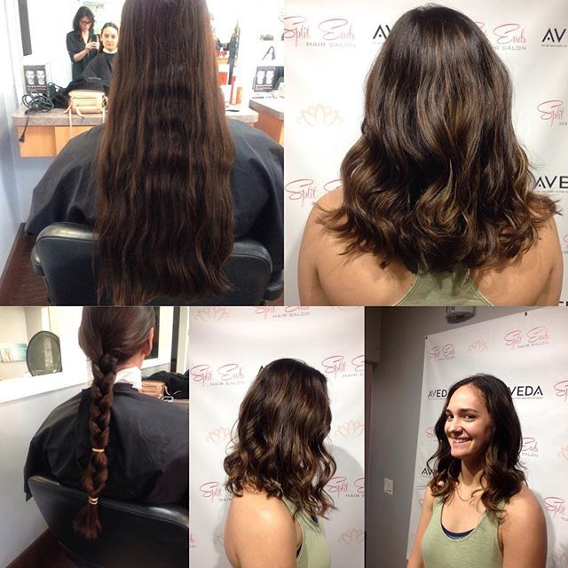 "My client today came in with virgin hair and wanted a subtle balayage and a hair cut. 10"" of her hair was donated❤💇🏼 #aveda #splitendssalon #pacificbeach #pacificbeachlocals #sandiego #sandiegoconnection #sdlocals #sandiegolocals - posted by Split Ends Hair Salon  https://www.instagram.com/splitendspb. See more post on Pacific Beach at http://pacificbeachlocals.com"