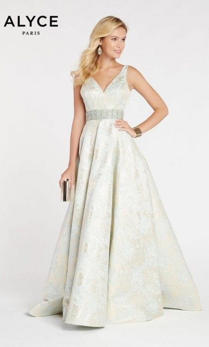 1a2f632bc25 Alyce Paris 60343 Brocade V Neck Prom Dress in 2019