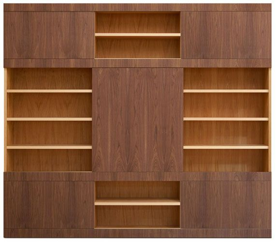 Mask bookcase. Open structure made of cherry wood with adjustable shelves, 1 big sliding door and 4 small sliding doors made of canaletto walnut wood. Upon request: doors veneered in Maple, Wenge, Macassar Ebony, Padouk, Cherry, Oak.
