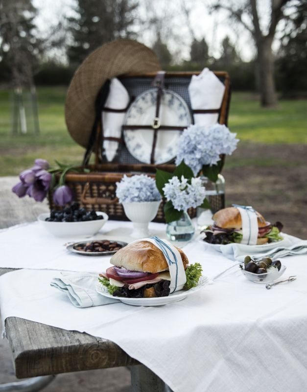 Romantic Picnic photo menu for two done in a vintage blue and white theme ©Rhonda Adkins www.thekitchenwitchblog.com