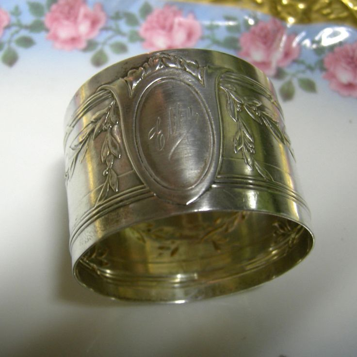 Antique Silver Napkin Ring - Monogrammed Elly by Vintageartshome on Etsy