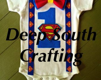 "Superman first birthday smash cake baby boy onesie bodysuit bow tie suspenders superman patch pick color of ""1"". 2 options READ item descrip"