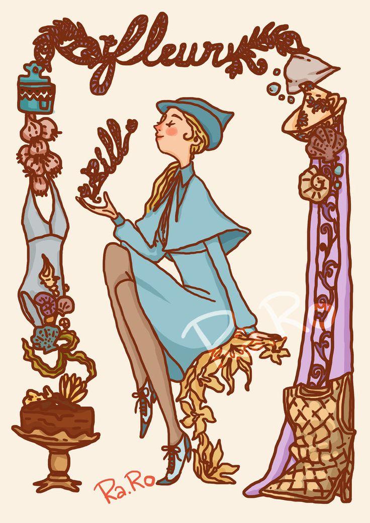Fleur Delacour es una bruja francesa y cuarta parte Veela por su abuela. Es del colegio de Magia y Hechicería Beauxbatons. Participó en el Torneo de los Tres Magos, compitió contra Viktor Krum, Cedric Diggori y Harry Potter. Se casó con Bill Weasley
