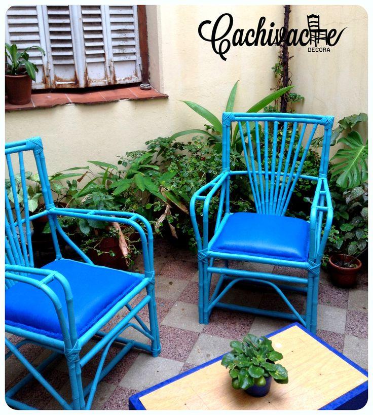 Sillones de ca a reciclados muebles restaurados pinterest for Sillones de mimbre pintados