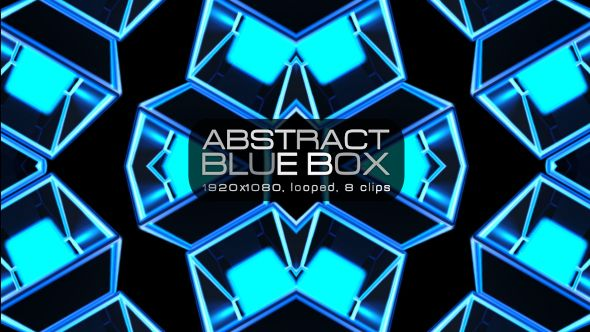 Abstract Blue Box Video Animation | 8 clips | Full HD 1920×1080 | Looped | Photo JPEG | Can use for VJ, club, music perfomance, party, concert, presentation | #3d #blue #box #dance #disco #geometric #glow #loop #music #pattern #rave #techno #tron #vj #wall