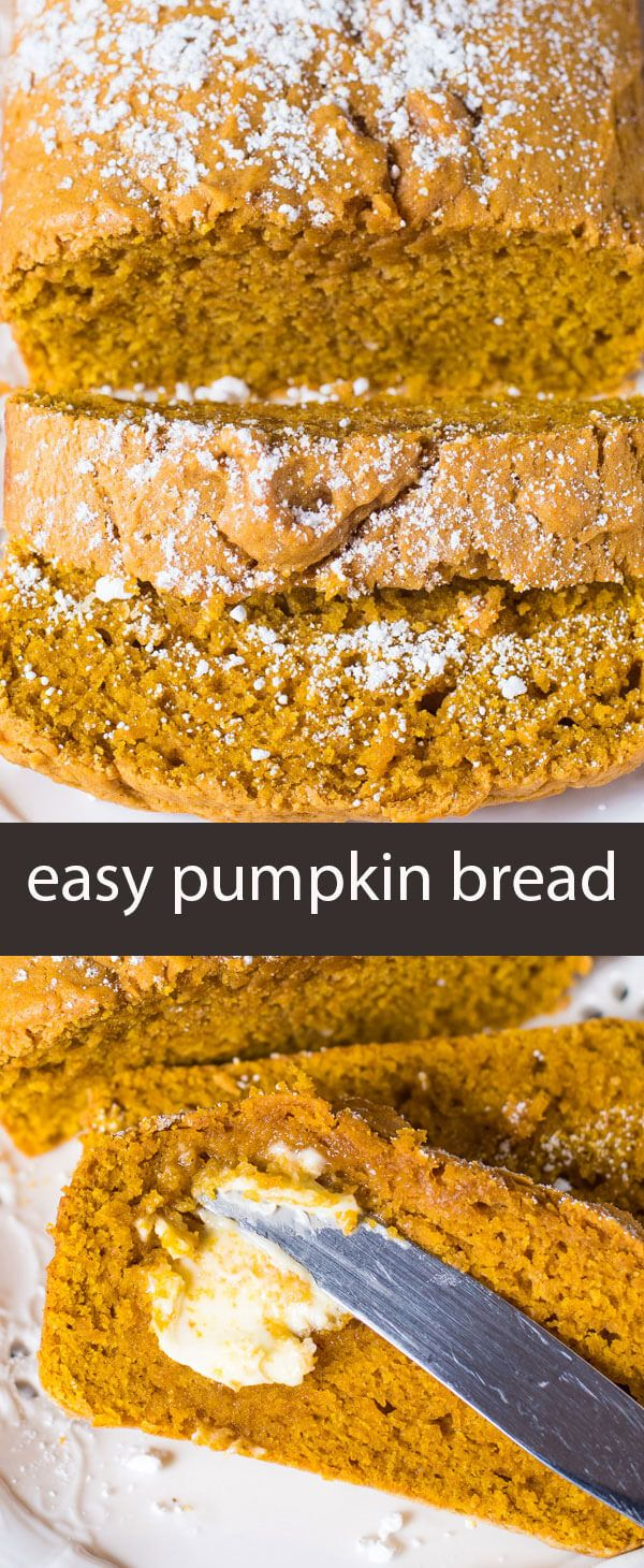 Easy Pumpkin Bread is a quick no-fail bread that has a simple pumpkin flavor. It makes two loaves so you can give one for a gift! via @tastesoflizzyt