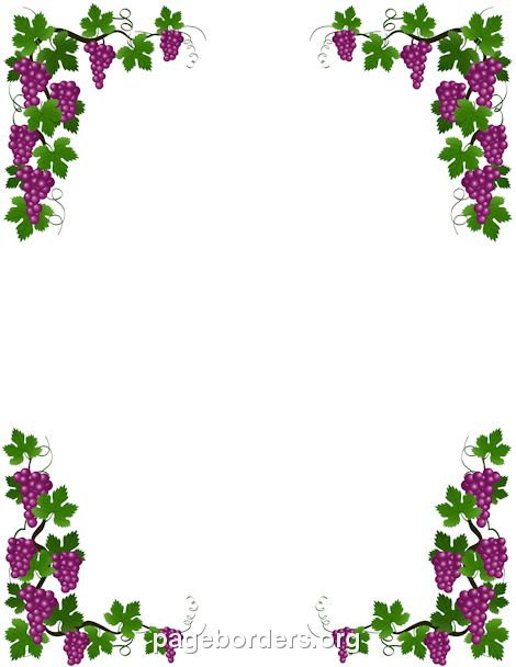 Printable grape vine border. Use the border in Microsoft Word or other programs for creating flyers, invitations, and other printables. Free GIF, JPG, PDF, and PNG downloads at http://pageborders.org/download/grape-vine-border/