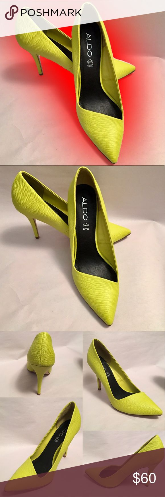ALDO Neon Yellow Pumps To die for!! In pristine condition! Must have to your summer wardrobe! Aldo Shoes Heels